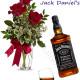 Bouquet di tre Rose rosse Bottiglia di Jack Daniel's