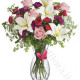 Bouquet di Gigli bianchi, Roselline rosse e rosa