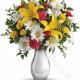 Bouquet di Gigli gialli, Margherite e Fiorellini rossi