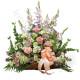Cesto funebre di Lilium bianchi e Rose Rosa
