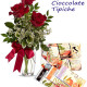 Bouquet di tre Rose rosse con Cioccolate tipiche