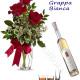 Bouquet di tre Rose rosse con Bottiglia di Grappa Bianca