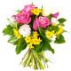 Bouquet di Roselline fucsia e bianche e Fiorellini gialli