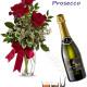 Bouquet di tre Rose rosse con Bottiglia di Prosecco