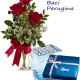 Bouquet di tre Rose rosse con Scatola di Baci Perugina