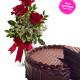 Torta al cioccolato con tris di Rose rosse