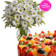 Torta alla frutta con bouquet di Margherite