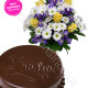Torta Sacher con bouquet allegria