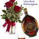 Bouquet di tre Rose rosse con Bottiglia di Vecchia Romagna