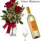 Bouquet di tre Rose rosse con bottiglia di Vino bianco