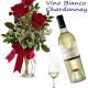 Bouquet di tre Rose con Bottiglia di Vino Bianco Chardonnay