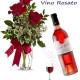 Bouquet di tre Rose rosse con Bottiglia di Vino Rosato