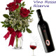 Bouquet di tre Rose rosse Bottiglia di Vino Rosso Riserva