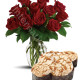 Bouquet di 12 Rose con Colomba di Pasqua