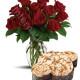Bouquet di 12 Rose con Colomba di Pasqua