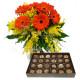 Bouquet di Gerbere con Mimosa e Cioccolatini