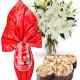 Bouquet di Gigli con Uovo Lindor e Colomba di Pasqua
