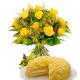 Torta mimosa con bouquet di Rose gialle e Mimose