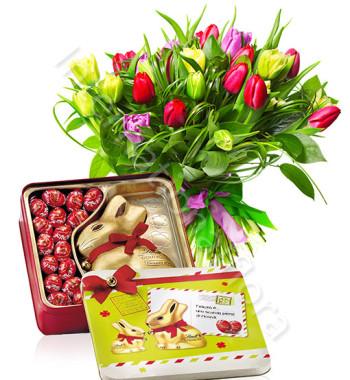 bouquet-di-tulipani-colorati-gold-bunny-lindt