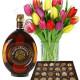 Bouquet di Tulipani con Vecchia Romagna e Cioccolatini