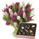 Bouquet di Tulipani con Scatola di Cioccolatini