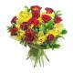 Bouquet di 12 Rose rosse e Orchidee con Mimosa