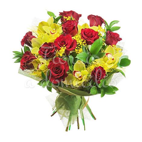 Bouquet di 12 rose rosse e orchidee con mimosa for Mimosa in vaso