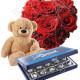 Piccolo Cuore di Rose rosse con Baci Perugina e Orsacchiotto