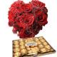 Piccolo Cuore di Rose rosse con Ferrero Rocher
