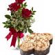 Tre Rose rosse con Colomba di Pasqua