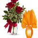 Bouquet di tre Rose rosse con Uovo di Pasqua
