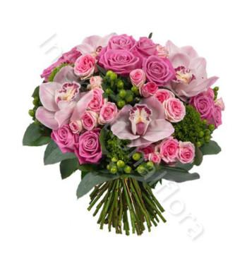 bouquet-di-rose-roselline-orchidee-rosa