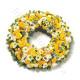 Corona funebre di Rose gialle e Fiori bianchi