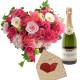 Cuore di Rose e Gerbe re con Biglietto d'Amore e Champagne