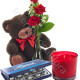 Tre Rose rosse con Orsacchiotto Candela e Baci Perugina