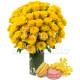 Bouquet di 50 Rose gialle con Macaron