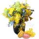 Bouquet di Mimose e Rose con Macaron