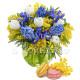 Bouquet di Mimose Tulipani e Iris con Macaron