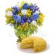 Bouquet di Mimose Tulipani e Iris con Torta