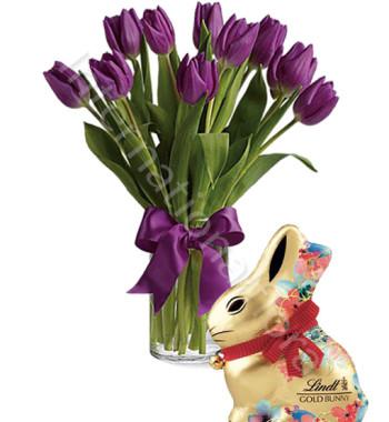 bouquet-di-tulipani-viola-con-coniglio-gold