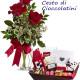 Bouquet di tre Rose rosse con Cesto di Cioccolate