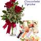 Bouquet di tre Rose rosse con Cioccolate tipiche