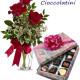 Bouquet di tre Rose rosse con Scatola di Cioccolatini