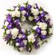 Corona funebre di Fiori bianchi e blu
