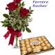 Bouquet di tre Rose rosse con Scatola di Ferrero Rocher