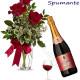 Bouquet di tre Rose rosse con Bottiglia di Spumante