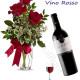 Bouquet di tre Rose rosse con Bottiglia di Vino Rosso