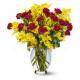 Bouquet di 20 Roselline rosse con Mimosa
